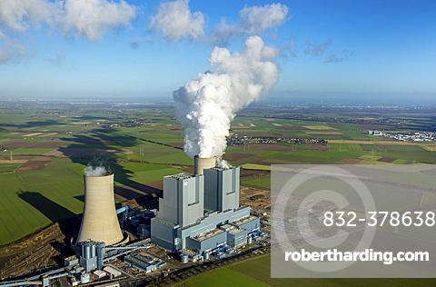 Neurath lignite power plant, RWE Power energy company, vapor cloud, plume, emission, Grevenbroich, Rhineland, North Rhine-Westphalia, Germany, Europe