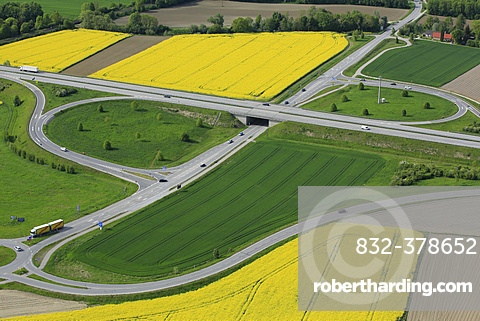 Aerial view, highway exit in agricultural landscape, A 94 motorway near Mühldorf, Upper Bavaria, Bavaria