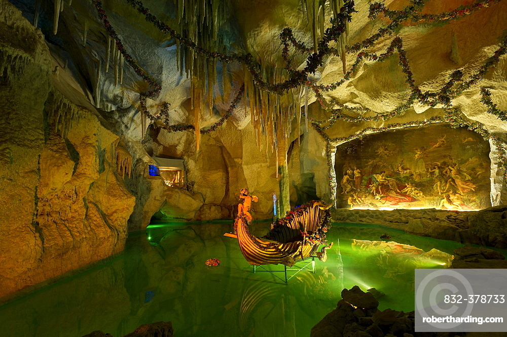 Venus Grotto of King Ludwig II, artificial stalactite cave with a lake and a shell-shaped boat, painting