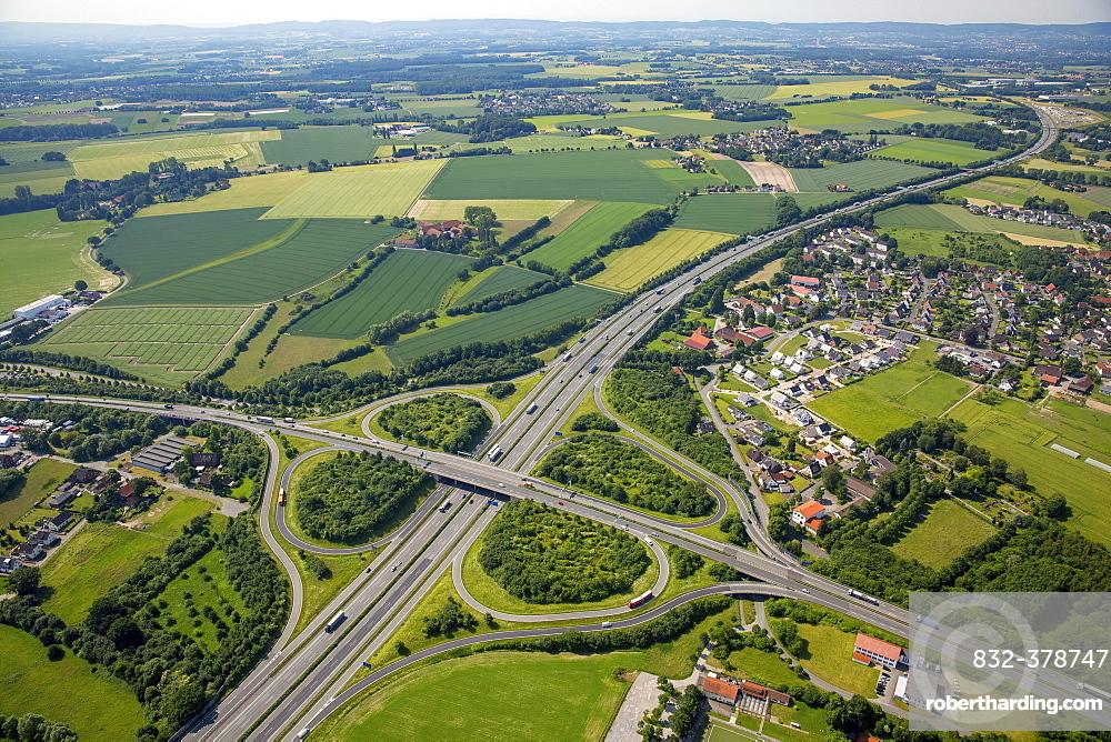 Motorway intersection A2 and main road B239 between Herford and Bad Salzuflen, cloverleaf interchange, highway bridge, North Rhine-Westphalia, Germany, Europe