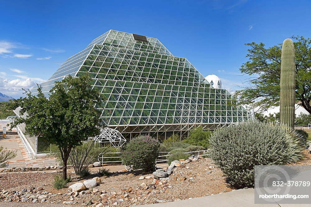 Biosphere 2, self-sustaining ecosystem, cactus in front of facility with tropical rainforest, Oracle, Arizona, USA, North America