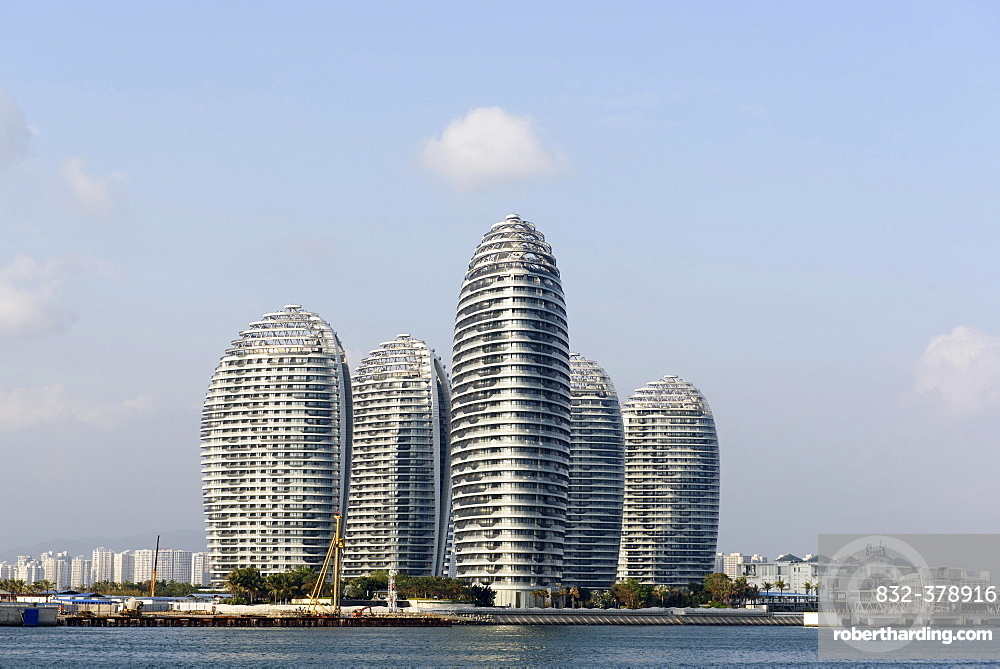 Modern high-rise buildings at the harbour, Sanya, island of Hainan, China, Asia