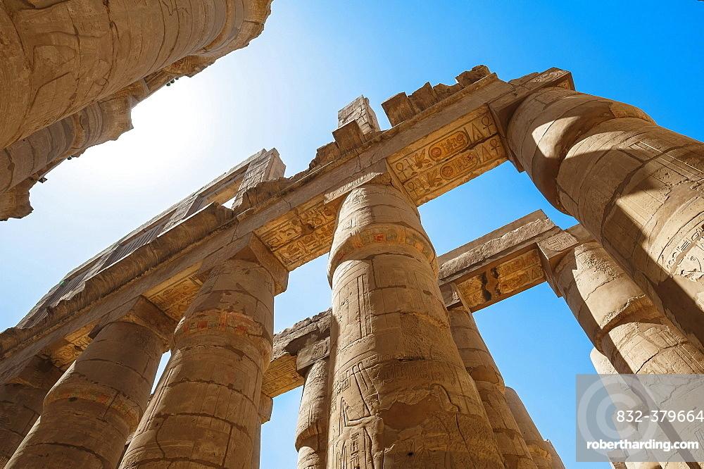 Portico with original color painting, Karnak Temple, Karnak, Luxor, Egypt, Africa
