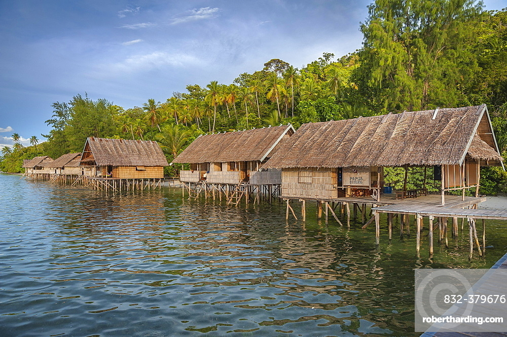 Bungalows, Papua Diving Resort, Kri Island in the Dampier Strait, West Papua, Indonesia, Asia