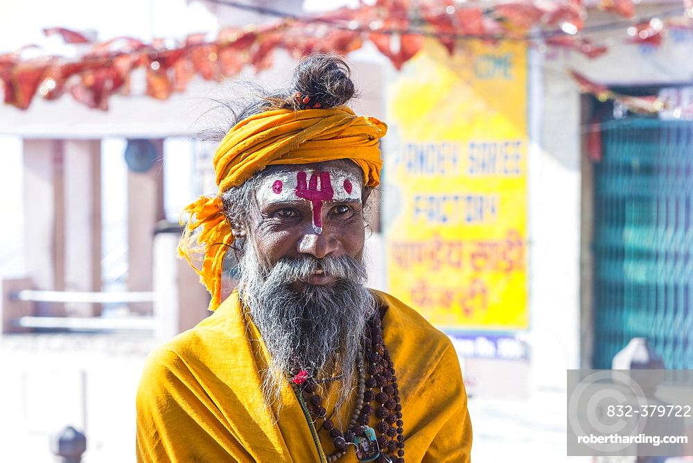 Sadhu, holy man, portrait, Varanasi, Uttar Pradesh, India, Asia