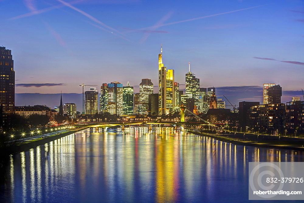 Skyline Financial District, dusk, Frankfurt on the Main, Hesse, Germany, Europe