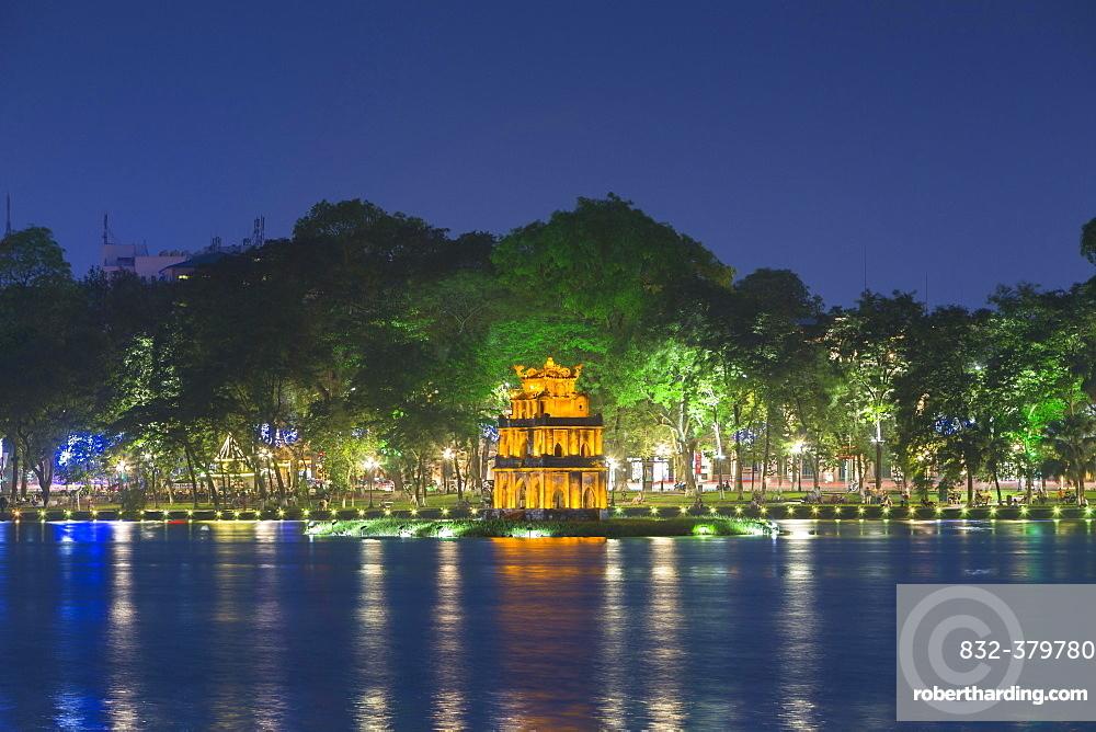 Thap Rua Temple or Turtle Tower at night, Hoan Kiem lake, Hanoi, Vietnam, Asia