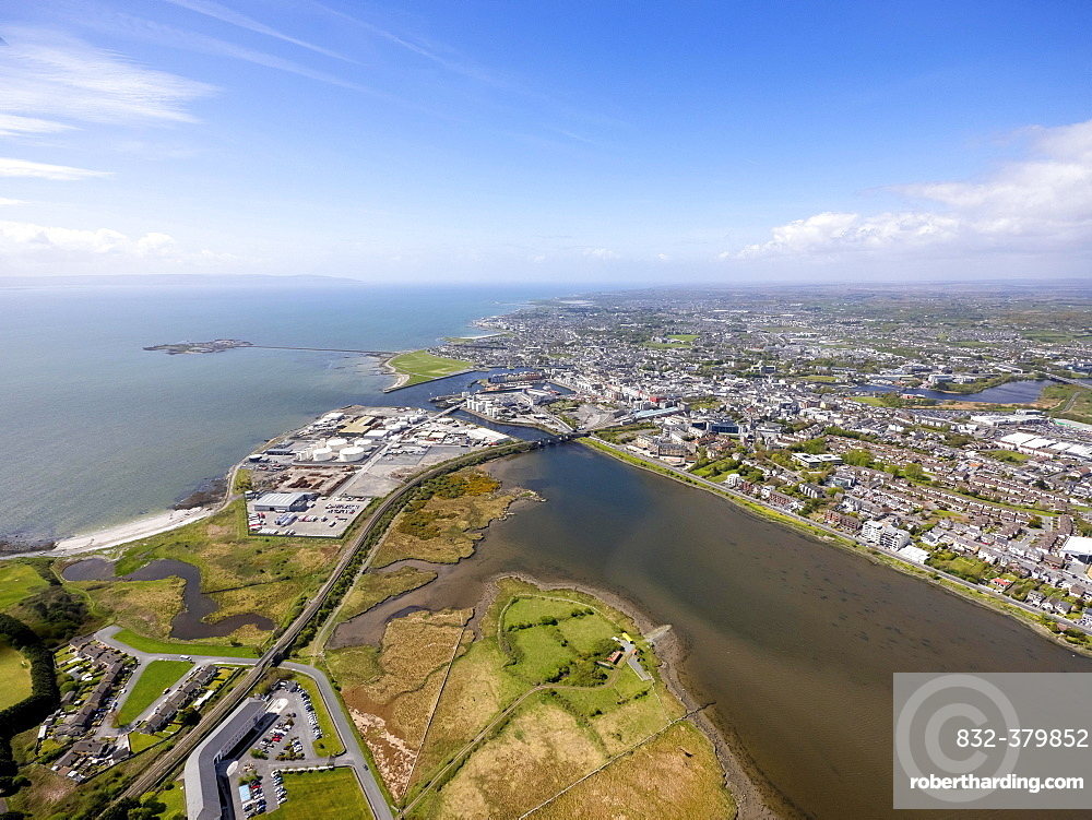 View of town and harbour, docks, Lough Atalia Road, Galway, County Clare, Ireland, Europe