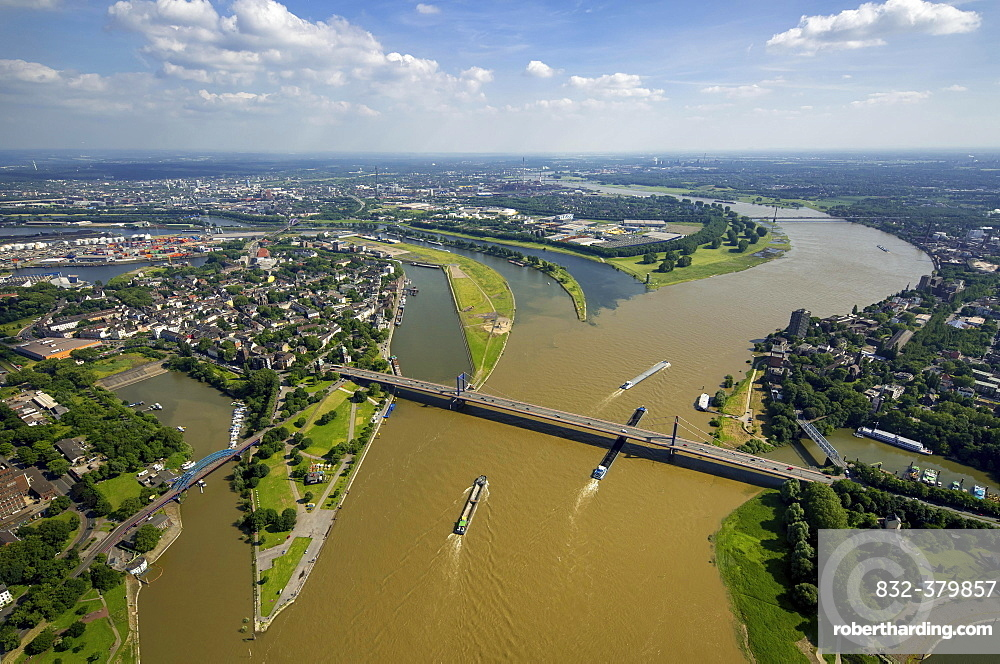 Aerial view, Cargo ships on the Rhine, brown flood mixes with the clean water of the Ruhr, Ruhr estuary, Duisburg, Ruhr district, North Rhine-Westphalia, Germany, Europe