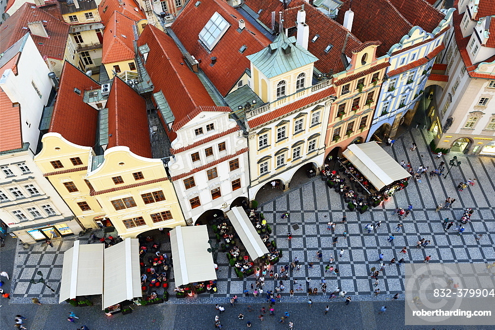 Old houses, view from above, Old Town Square, Prague, Czech Republic, Europe