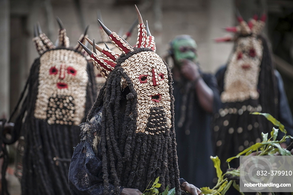 Men of the ethnic group of the Bamileke with traditional masks, Dance of Death in honor of a deceased person, Badenkop, West Region, Cameroon, Africa