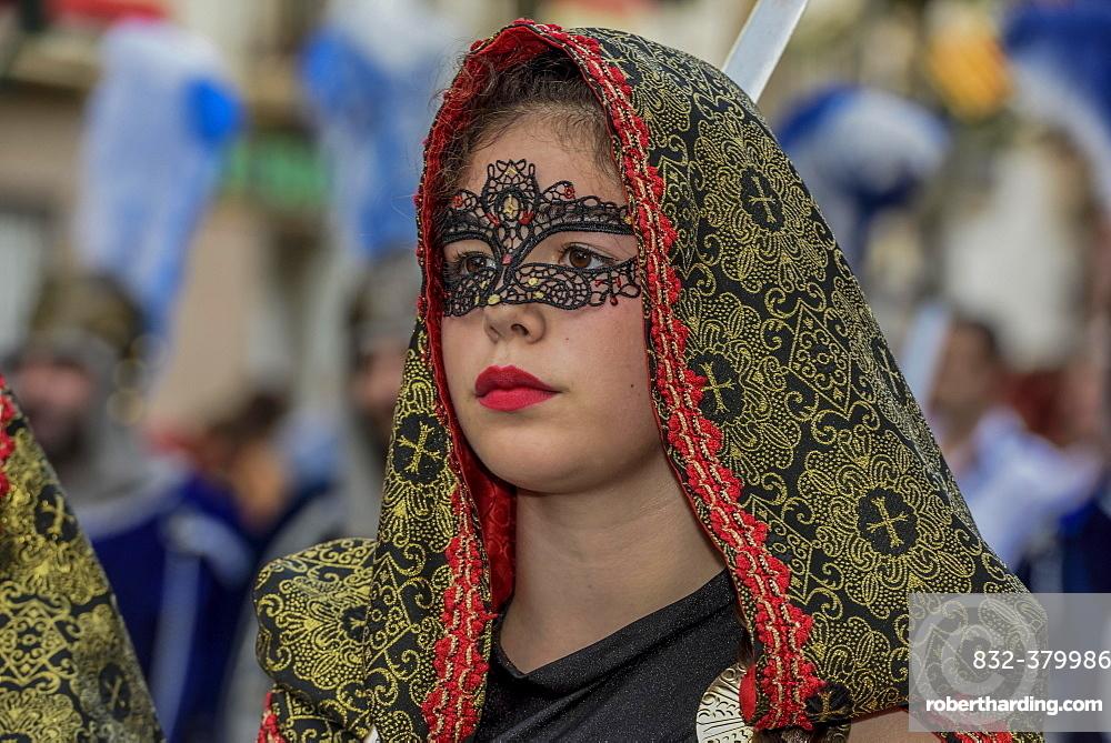 Woman in historic clothes, Moors and Christians Parade, Moros y Cristianos, Jijona or Xixona, Province of Alicante, Costa Blanca, Spain, Europe