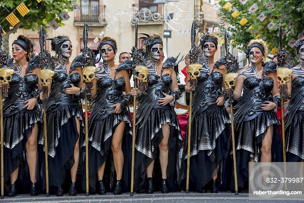 Women in historic clothing, Moors and Christians Parade, Moros y Cristianos, Jijona or Xixona, Province of Alicante, Costa Blanca, Spain, Europe