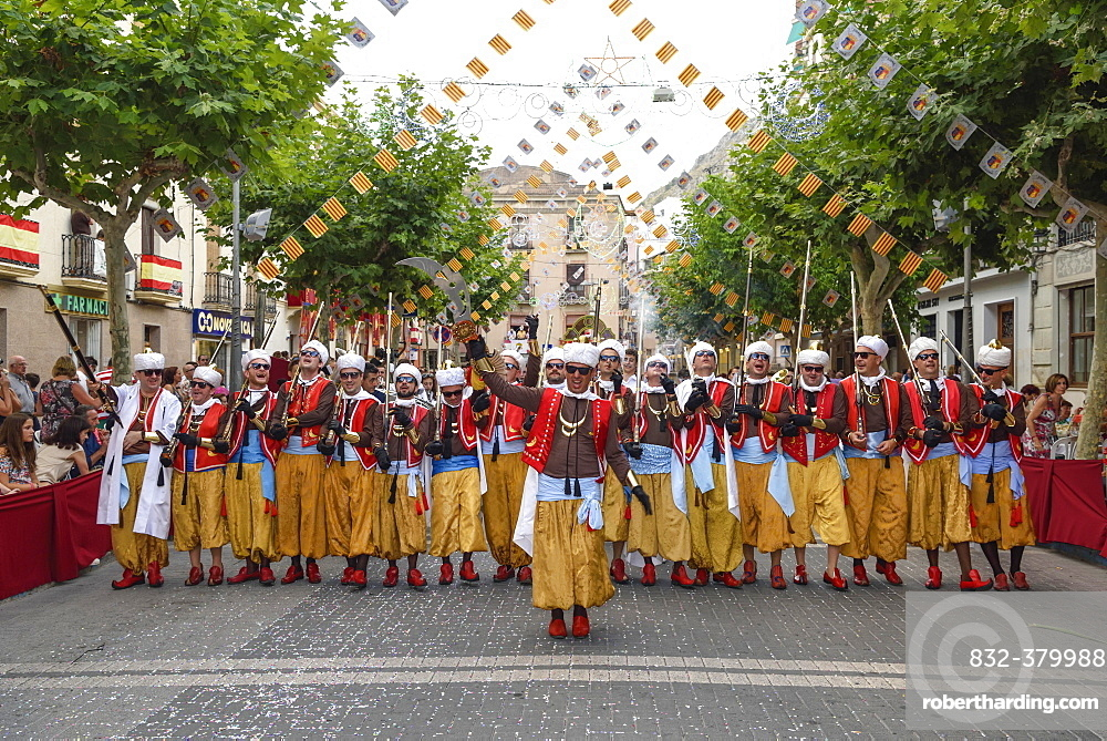 Group in traditional clothing, Moors and Christians Parade, Moros and Cristianos, Jijona or Xixona, Province of Alicante, Costa Blanca, Spain, Europe