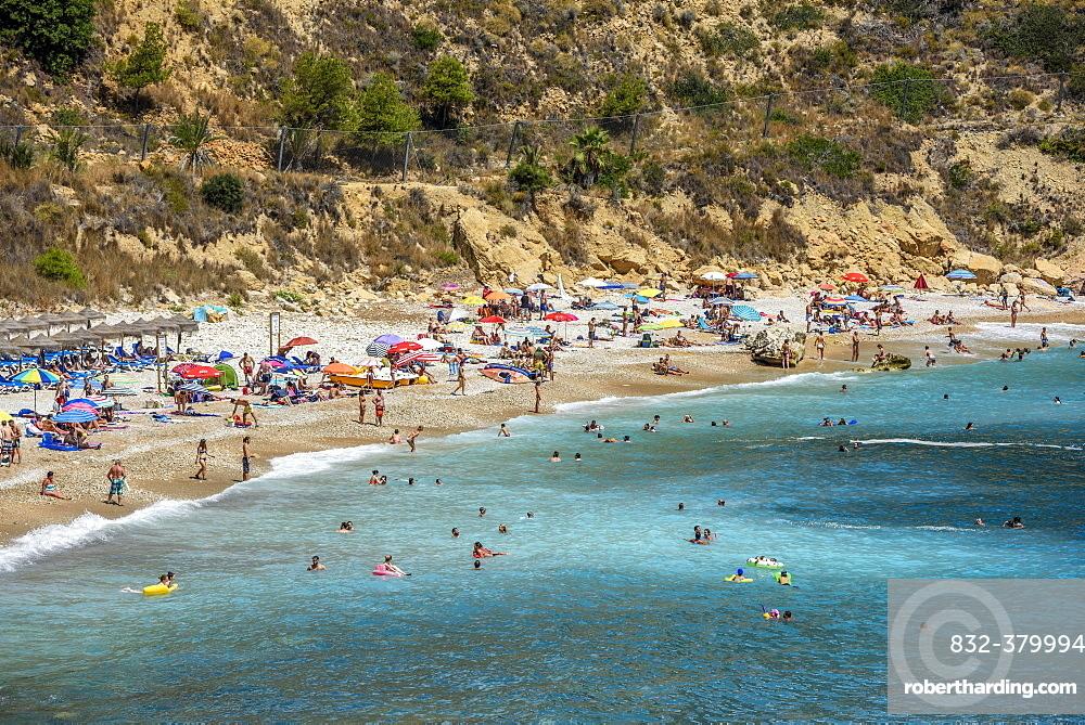 Bathers, Cala Moraig, beach Moraig near Benitachell, Costa Blanca, Spain, Europe