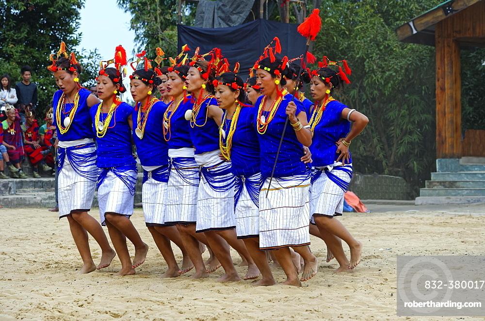 Tribal ritual dance at the Hornbill Festival, Kohima, Nagaland, India, Asia
