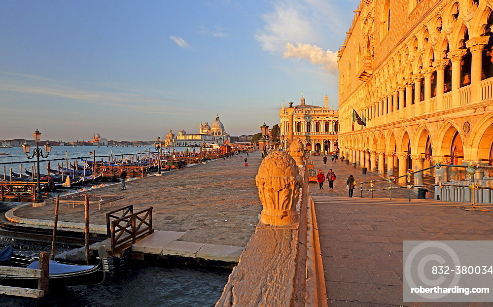 Piazzetta with Doge's Palace, in the back church of Santa Maria della Salute, morning atmosphere, Venice, Italy, Europe