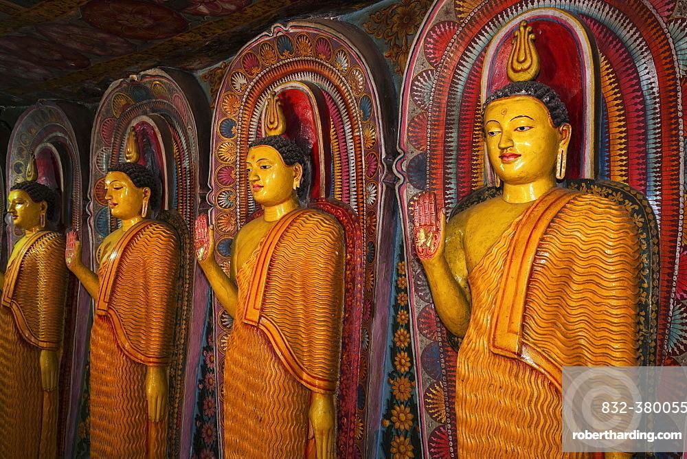 Buddha statues, interior, Aluvihara Rock Temple, Matale, Central Province, Sri Lanka, Asia