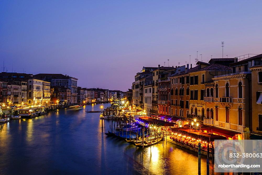 Canal Grande in the evening light, view from Rialto bridge, Venice, Veneto, Italy, Europe