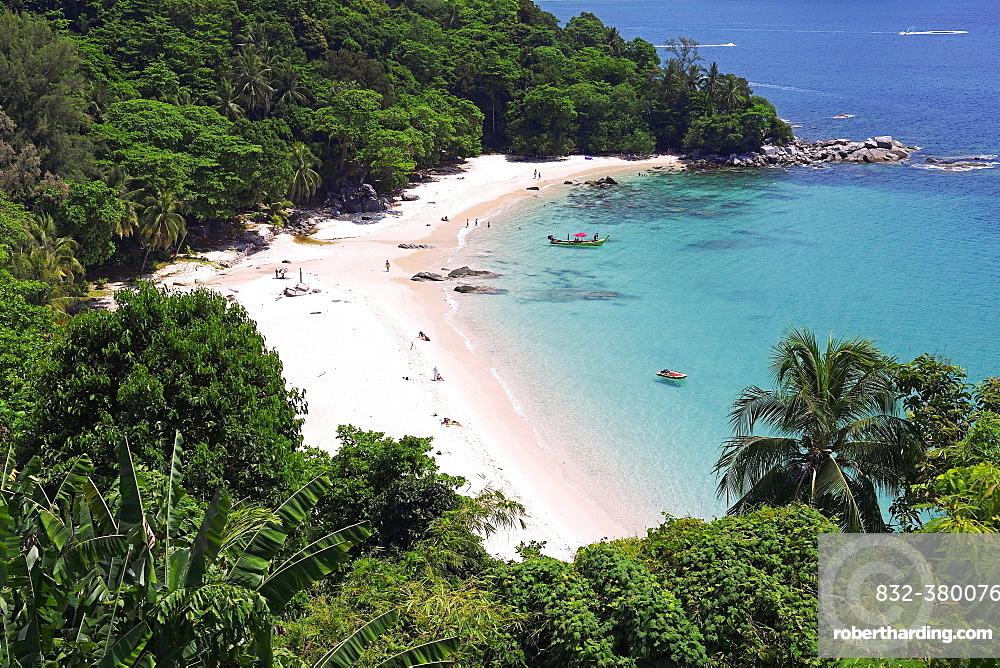 Tropical sandy beach, Laem Singh Beach, Phuket, Thailand, Asia