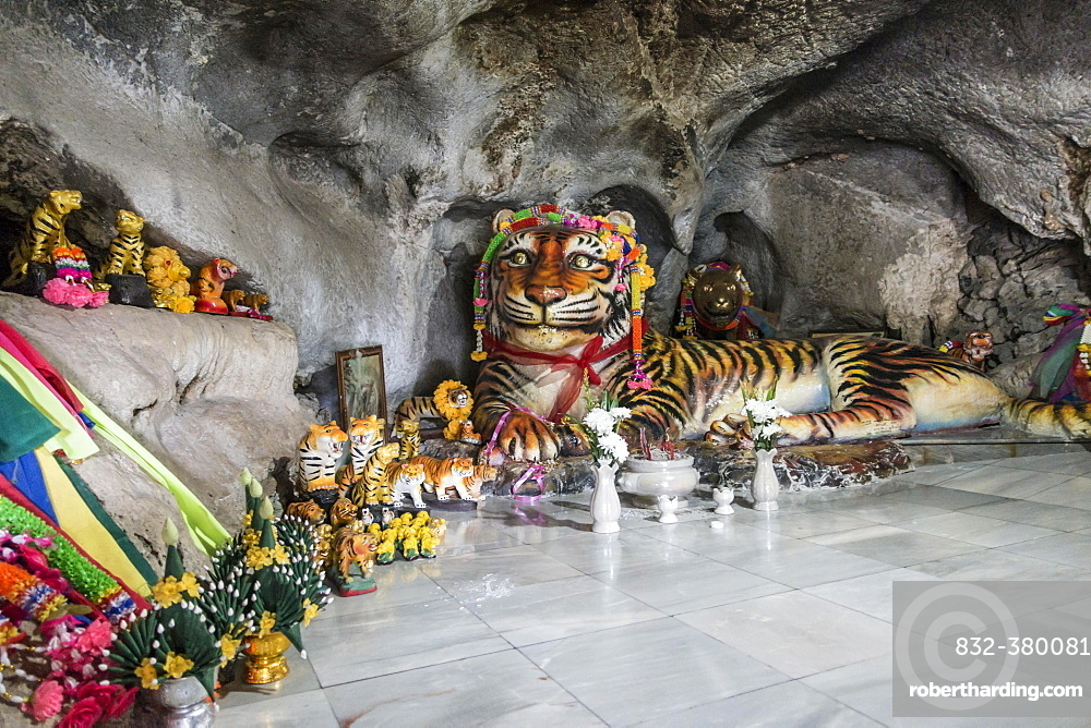 Worship of a tiger sculpture in the Tiger Cave, Tiger Cave Temple, Wat Tham Suea, Krabi Province, Thailand, Asia