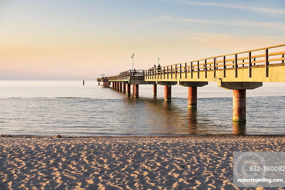 Pier and beach in Prerow, Baltic Sea, Darss, Mecklenburg-Western Pomerania, Germany, Europe