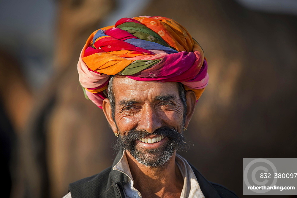 Portrait of Rajasthani man with turban, Pushkar, Rajasthan, India, Asia