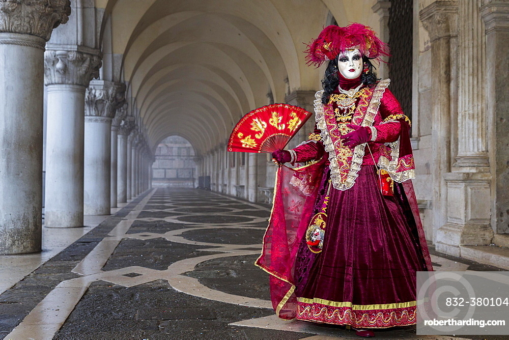 Woman dressed up for carnival in Venice, Italy, Europe