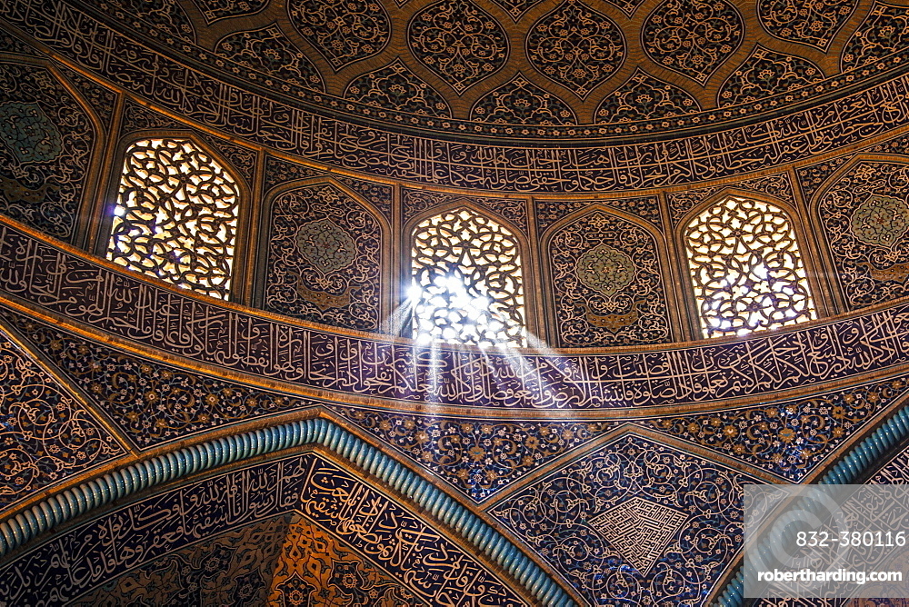 Light shines through window, dome, Jameh Mosque of Isfahan, Isfahan, Iran, Asia