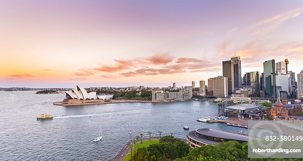 Sunset, Circular Quay and The Rocks, Skyline with Sydney Opera House, Financial District, Banking District, Sydney, New South Wales, Australia, Oceania