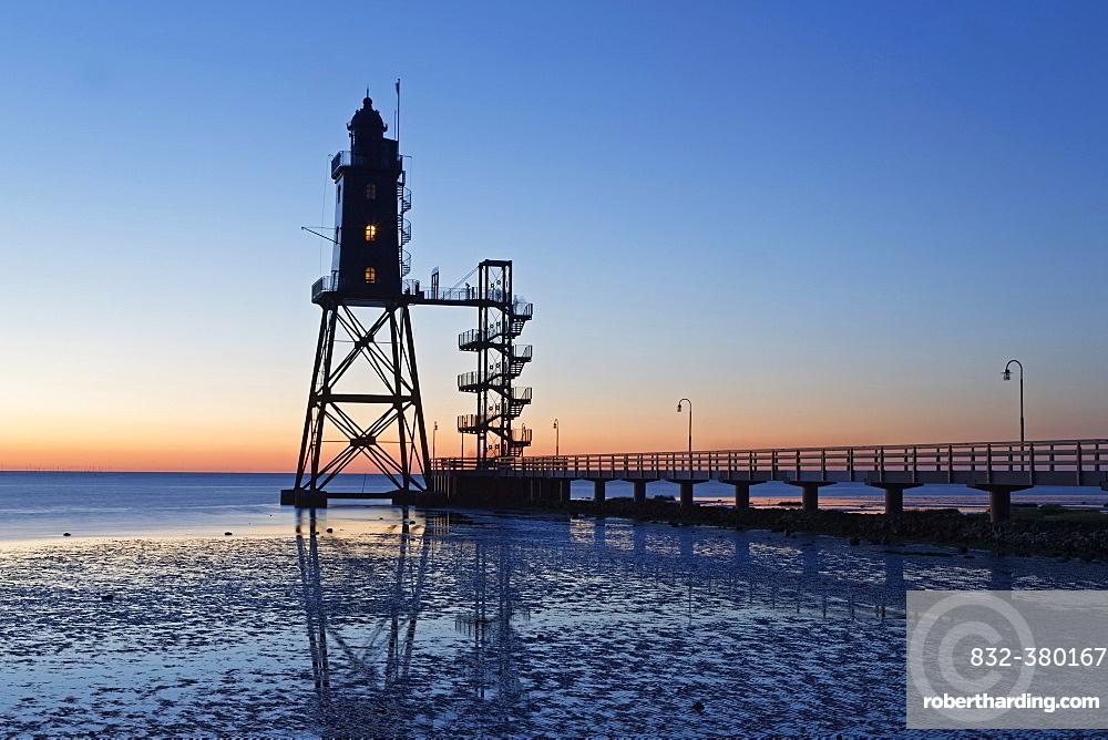Lighthouse Obereversand, evening mood, Dorum-Neufeld, Lower Saxony, Germany, Europe