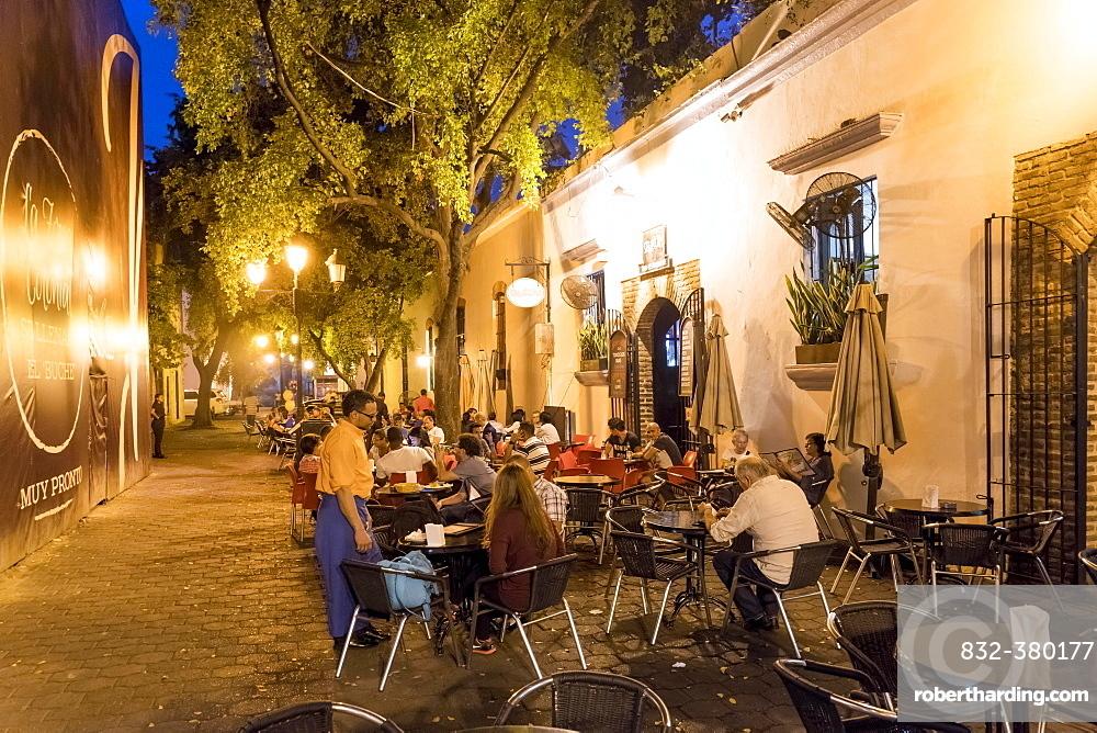 Sidewalk cafe SegaZona in the Zona Colonial old town, Santo Domingo, Dominican Republic, Central America
