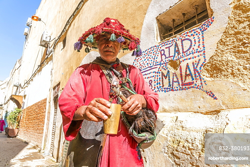 Traditional water seller in the Medina, Fez, Morocco, Africa