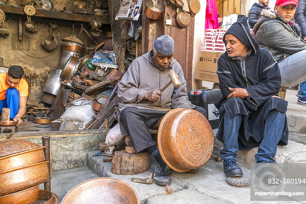 Coppersmiths at work, Place Seffarine, Fez, Morocco, Africa