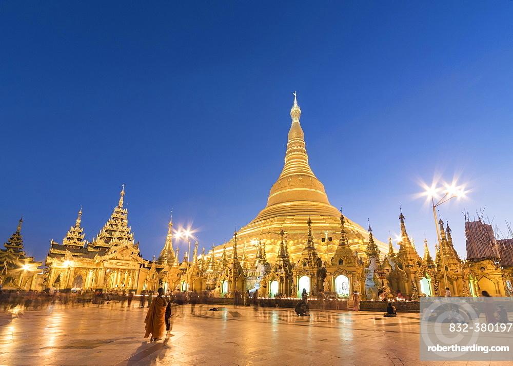 Shwedagon Pagoda at night, Yangon, Rangoon, Myanmar, Asia