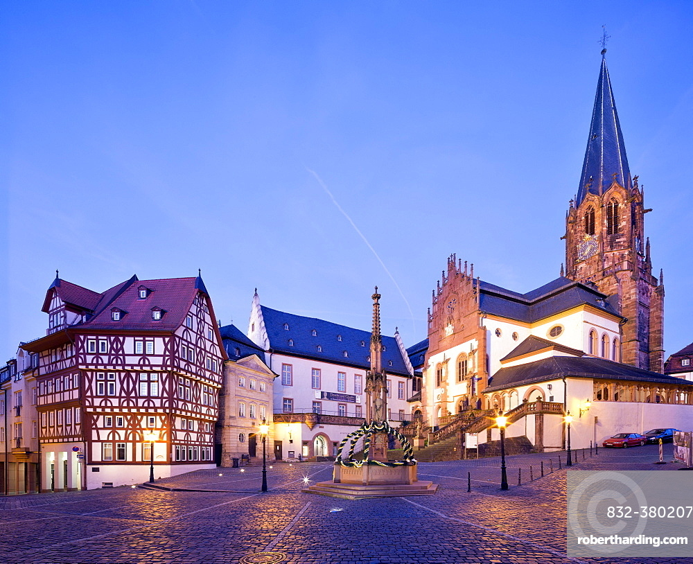 Collegiate Church of St. Peter and Alexander with Stiftsmuseum, Twilight, Aschaffenburg, Lower Franconia, Bavaria, Germany, Europe
