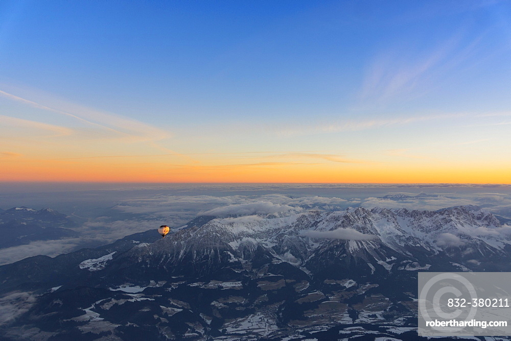 Morning light, sunrise during a balloon ride, view of the Alps, position about 5400 m above sea level, over Neukirchen am Großvenediger, Viewing direction Westendorf and Kitzbühel, Austria, Europe