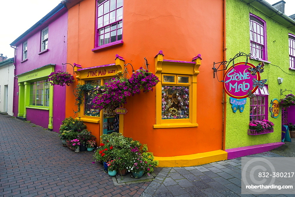 Brightly coloured facade of shops in Kinsale, Republic of Ireland