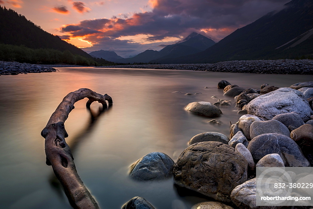 Bank with stones, Lech at blue hour Weissbach, Lech valley, Tyrol, Austria, Europe