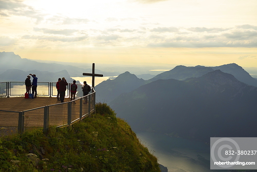 Tourists on the Stoos-Fronalpstock observation deck, view of Rigi and Lake Lucerne, Canton of Schwyz, Switzerland, Europe
