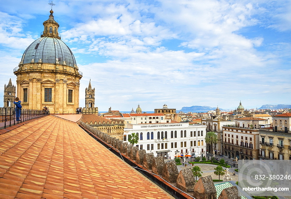 Cityscape from the roof of the Palermo Cathedral, Palermo, Sicily, Italy, Europe