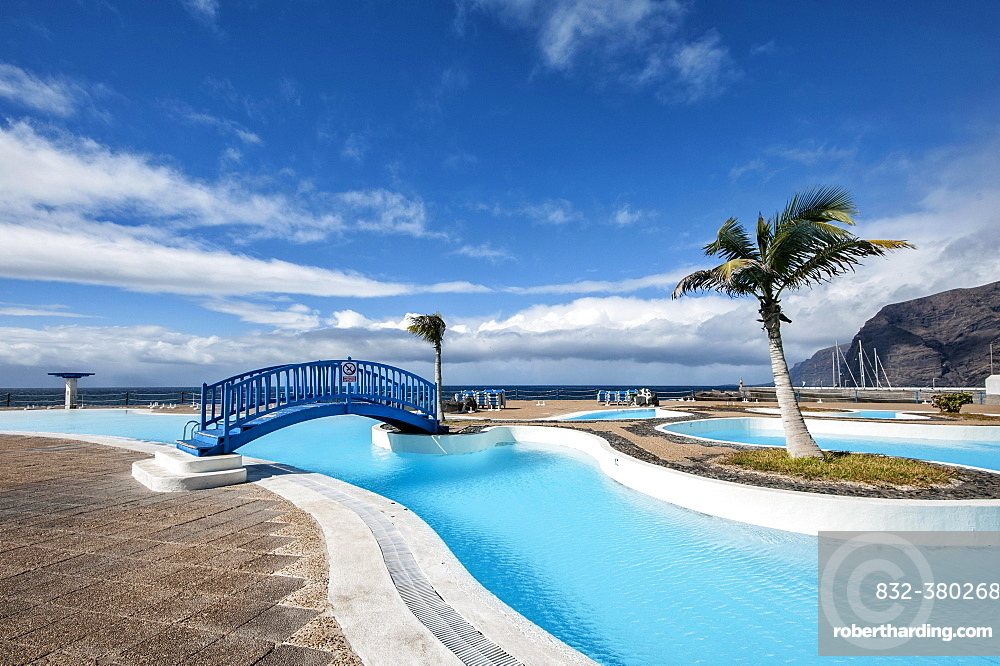 Swimming pool, Piscine Plage Port, Los Gigantes, Tenerife, Spain, Europe
