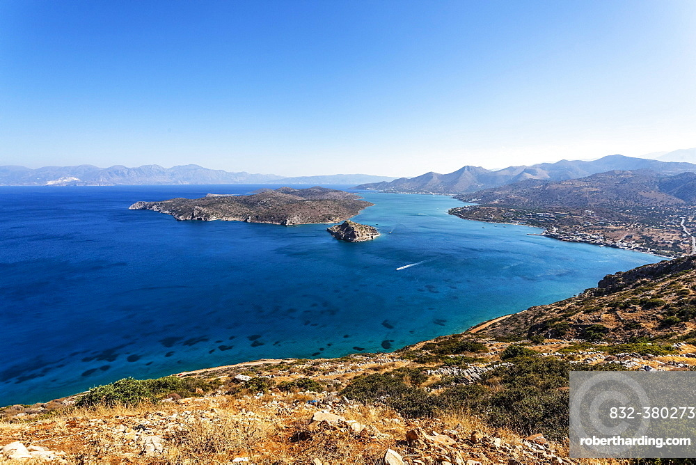 Panoramic view of  Elounda bay, Agios Nikolaos, Crete, Greece, Europe