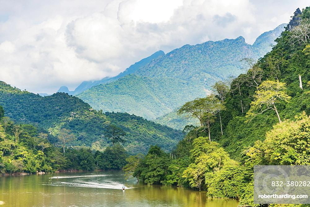 Mountain landscape, Nam Ou River, Nong Khiaw, Luang Prabang, Laos, Asia