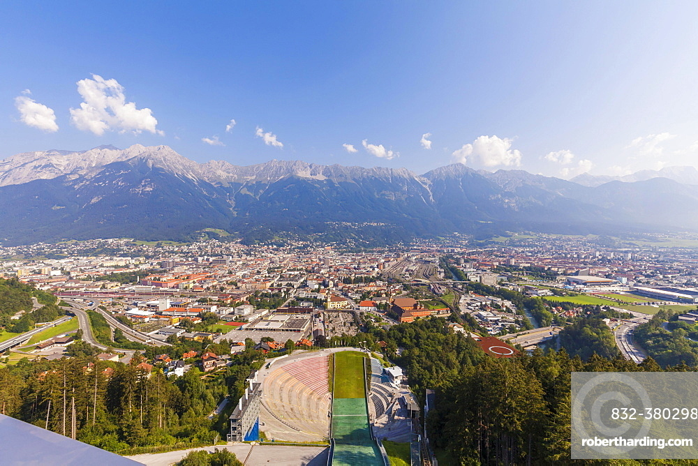 View from the ski jump tower, ski jump, Bergisel Stadium, Bergisel, Innsbruck, Tyrol, Austria, Europe