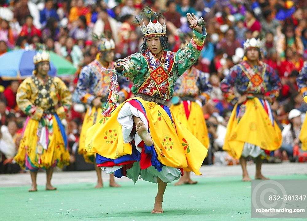 Dancers at the Tashichho Dzong monastery festival, Thimphu, Bhutan, Asia