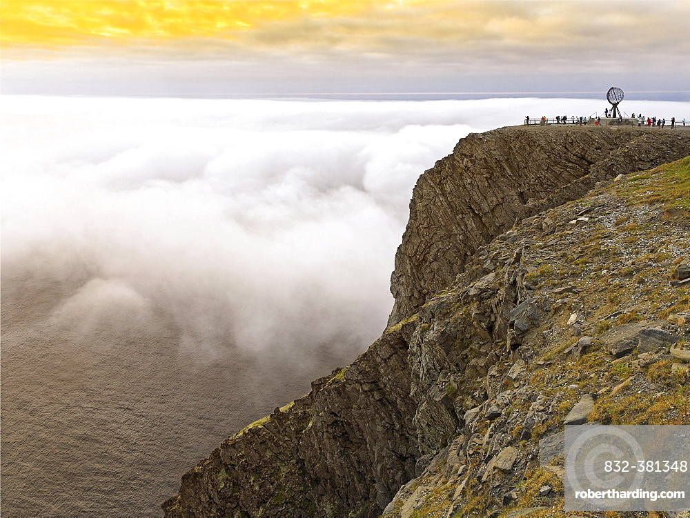 Slate plateau, rocky coast with North Cape platform and globe in the evening, Nordkapplatået, Nordkapp, Magerøya, Finnmark County, Norway, Europe