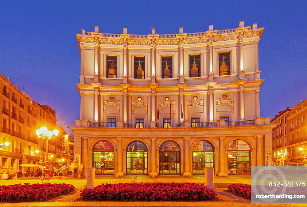 Teatro Real from the side of the Plaza de Oriente, dusk, Madrid, Spain, Europe