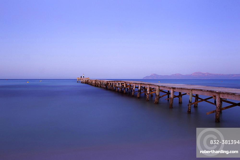 Jetty leading out into the sea, Alcudia, Majorca, Balearic Islands, Spain, Europe