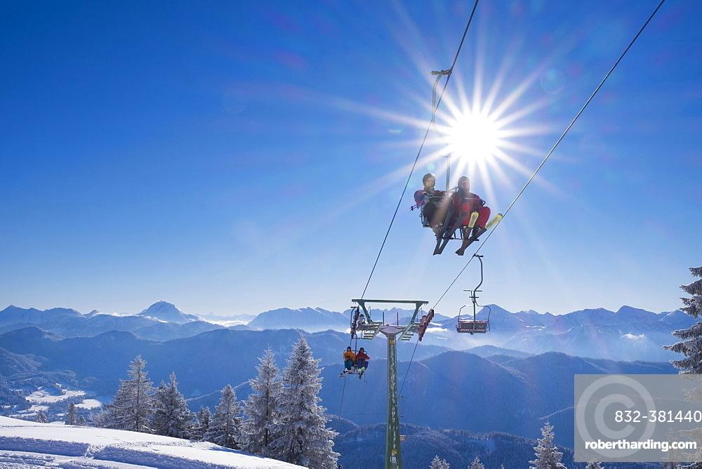 Finstermünz chairlift, ski resort Brauneck, Lenggries, Isarwinkel, Bavarian Prealps, Upper Bavaria, Bavaria, Germany, Europe